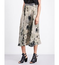 The Kooples Tie Dye Print Silk Midi Skirt Kak31
