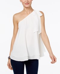 Inc International Concepts Petite One Shoulder Bow Blouse Only At Macy's Washed White