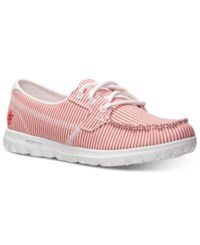 Skechers Women's Go Boat Casual Sneakers From Finish Line Red Stripe