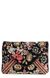 Sole Society Floral Sequin Clutch Black Multi