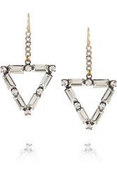 Lulu Frost Empire Oxidized Silver Tone Crystal Earrings Metallic