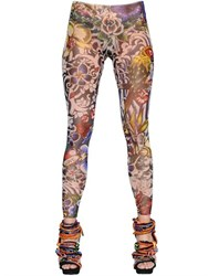 Dsquared Tattoo Printed Stretch Tulle Leggings