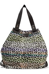 Just Cavalli Leather Trimmed Printed Twill Tote Multi