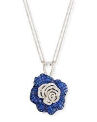 Stenzhorn Abstract Blue Sapphire And White Diamond Flower Pendant Necklace