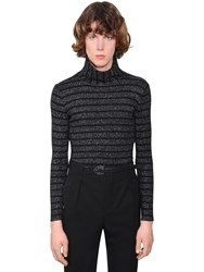 Saint Laurent Lurex Wool Blend Turtleneck Sweater Black
