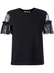 Mcq By Alexander Mcqueen Lace Sleeve T Shirt Black