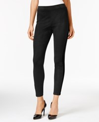 Ny Collection Ponte Inset Faux Suede Leggings Black Black