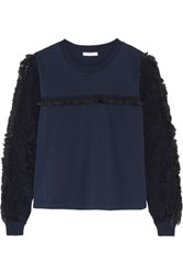 See By Chloe Crochet Paneled Cotton Jersey Top Navy