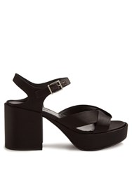Jil Sander Chunky Block Heel Satin Sandals Black