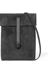 Brunello Cucinelli Stud Embellished Suede Shoulder Bag Dark Gray
