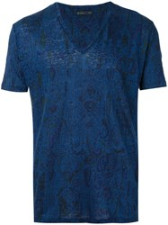Etro V Neck T Shirt Men Linen Flax L Blue