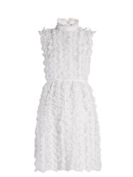 Givenchy Ruffle Trimmed Sleeveless Lace Dress White