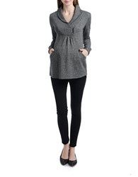 Miscellaneous Shawl Collar Maternity Pullover Sweatshirt Grey