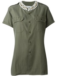 Forte Couture Embellished Collar 'Honour' Button Down Shirt Green