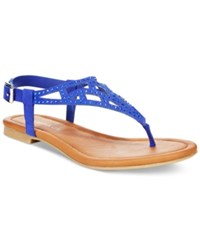 Rampage Pattie T Strap Flat Sandals Women's Shoes Cobalt