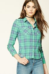 Forever 21 Flannel Plaid Button Down Shirt Green Periwinkle