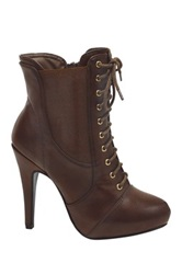Nature Breeze Skyler Lace Up Stiletto Bootie Brown