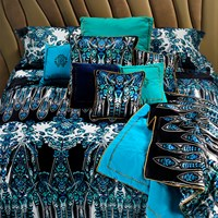 Roberto Cavalli Plumes Duvet Set Blue Super King