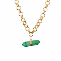 Tiana Jewel Goddess Green Quartz Choker Neklace Gold