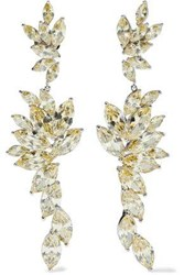 Cz By Kenneth Jay Lane Woman Rhodium Plated Crystal Earrings Gold