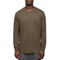 Universal Works Military Green Long Sleeve Pocket T Shirt White