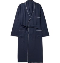 Anderson And Sheppard Piped Linen Robe Navy