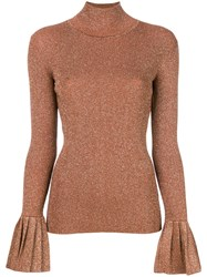 Carven Flared Cuffs Knitted Top Neutrals