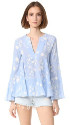 Endless Rose Embroidered Bell Sleeve Top Dusty Blue Off White