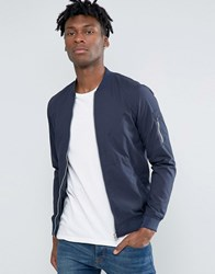 Pull And Bear Pullandbear Bomber Jacket In Navy Navy