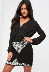 Missguided Black Paisley Beaded Mini Skirt