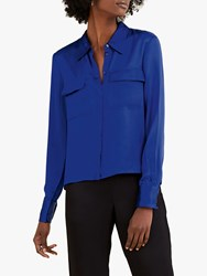 Pure Collection Satin Utility Blouse Royal Blue