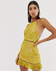 Fashion Union High Neck Lace Dress With Low Back Yellow
