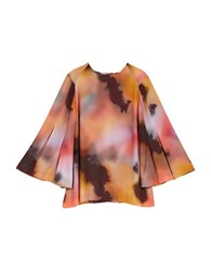 Melissa Mccarthy Seven7 Plus Roundneck Butterfly Sleeve Blouse Pink Multi