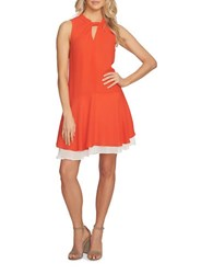 Cynthia Steffe Sleeveless Layered Hem A Line Dress Sunset Red