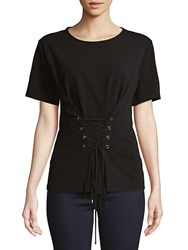 Ellen Tracy Front Lace Up Top Black