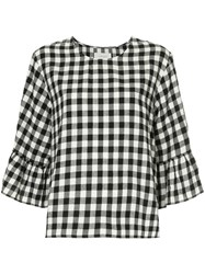 The Great Sweetie Check Ruffle Blouse Cotton Black