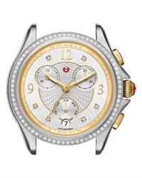 Michele 37Mm Belmore Watch Head With Diamonds Silver Gold