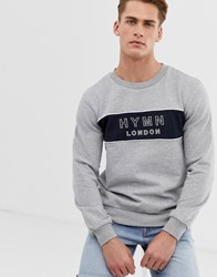 Hymn Embroidered Logo Stripe Sweatshirt Grey
