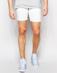 Solid Denim Shorts With Stretch White
