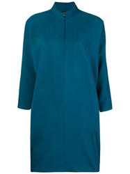 Gianluca Capannolo Slit Neck Cocoon Dress Blue