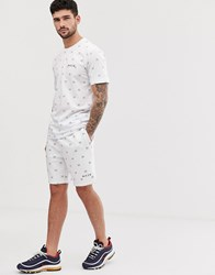Nicce London Shorts With All Over Print In White
