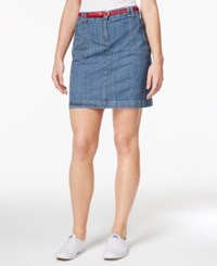Karen Scott Belted Denim Skort Only At Macy's Chambray