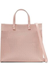Clare V. Simple Perforated Leather Tote Baby Pink