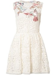 Red Valentino Bird Patches Macrame Dress White