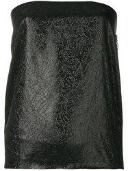 Romeo Gigli Vintage Glittery Embroidery Strapless Top Black