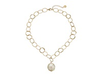 Majorica Baroque Pearl Hammered Pendant Necklace Gold White Necklace Multi