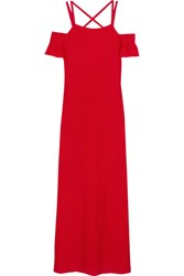 Adriana Degreas Cold Shoulder Voile Maxi Dress Crimson