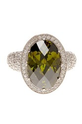 Suzy Levian Jewelry Sterling Silver Dark Green Oval Cut Cz Bridal Ring