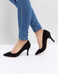 Faith Chariot Heeled Court Shoes Black