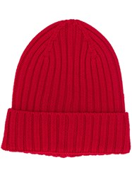 Woolrich Ribbed Beanie Hat Red